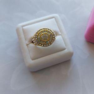White Zircon Crystal Yellow Gold Ring